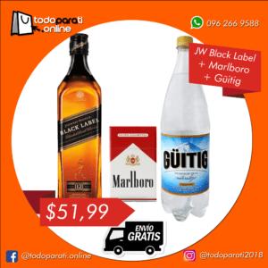 Combo Whisky Johnnie Walker Black Label+ Cigarrillos + Güitig